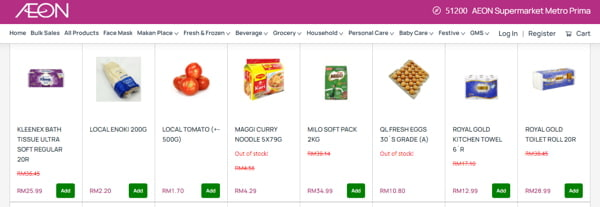 Examples Of Goods Offered By Aeon Supermarket