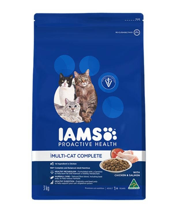 Makanan Kucing Kering IAMS Adult Multi-Cat Complete Chicken And Salmon