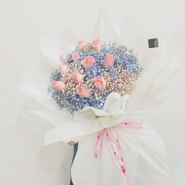 Imported Rainbow Baby Breath with Roses by Only Love Florist