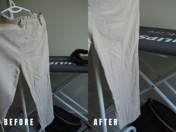 Linen Pants (Before And After Vertical Steaming)