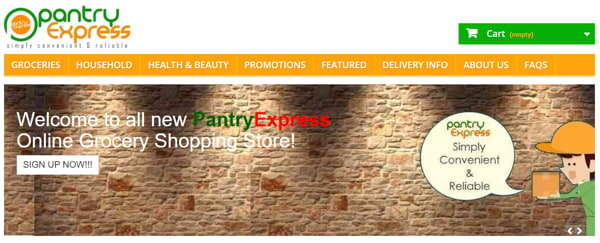 Online Shopping Interface Of Pantry Express