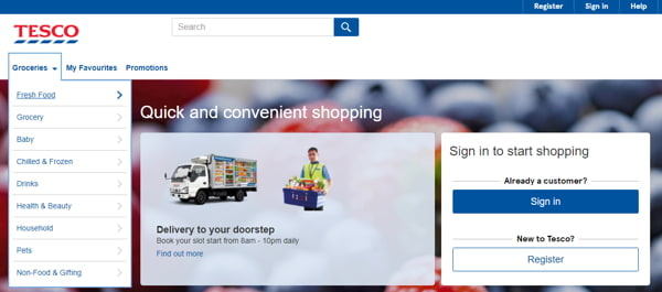 Order Groceries From Tesco On Their Website