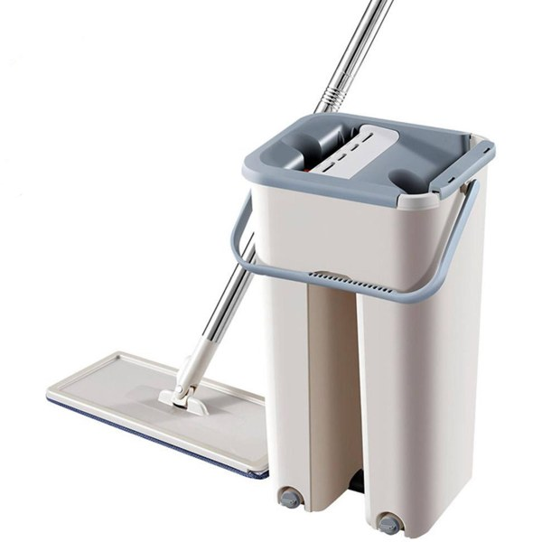 Self-Wash And Squeeze Dry Flat Mop With Bucket