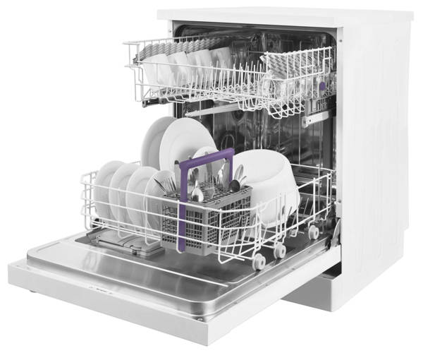 Storage Racks Inside Beko DFN05R11W Freestanding Dishwasher
