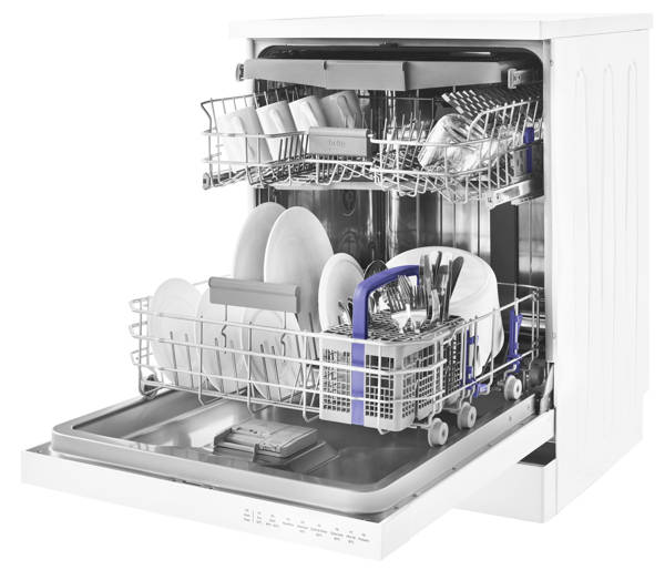 Storage Racks Inside Beko DFN28R22W Freestanding Dishwasher