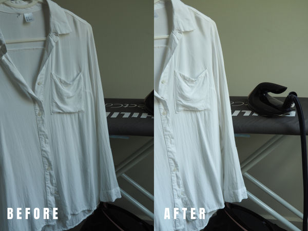 Thin Rayon Shirt (Before And After Vertical Steaming)